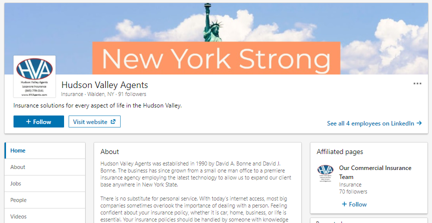 Hudson Valley Agents LinkedIn screenshot