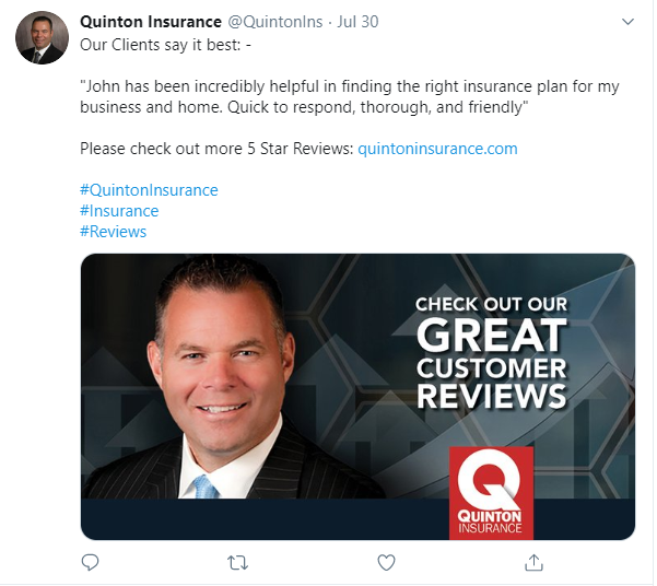 Quinton Insurance Twitter screenshot